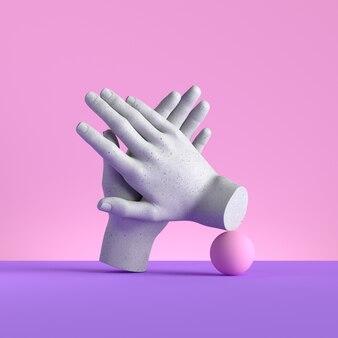 Rendu 3d de mains isolés, geste d'applaudissements