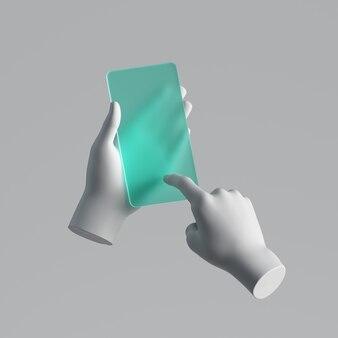 Rendu 3d, mains de mannequin tenant un téléphone intelligent en verre vert menthe.