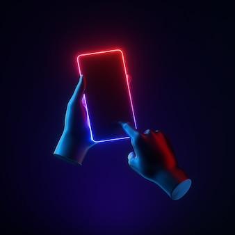 Rendu 3d des mains de mannequin tenir un gadget de téléphone intelligent concept technologique futuriste minimal