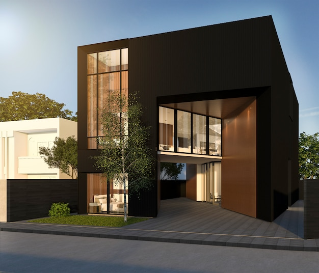 Rendu 3d maison cubique noir minimal en été