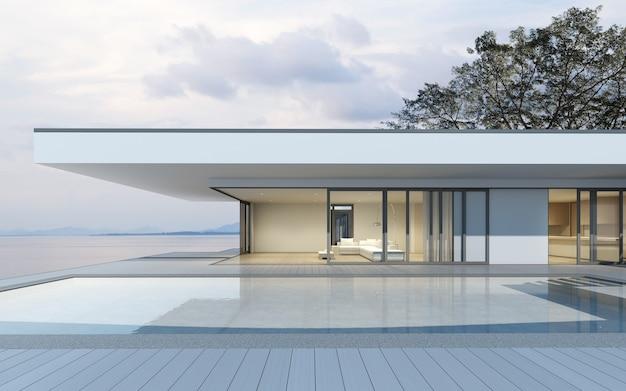 Rendu 3d de maison moderne avec piscine sur fond de mer.