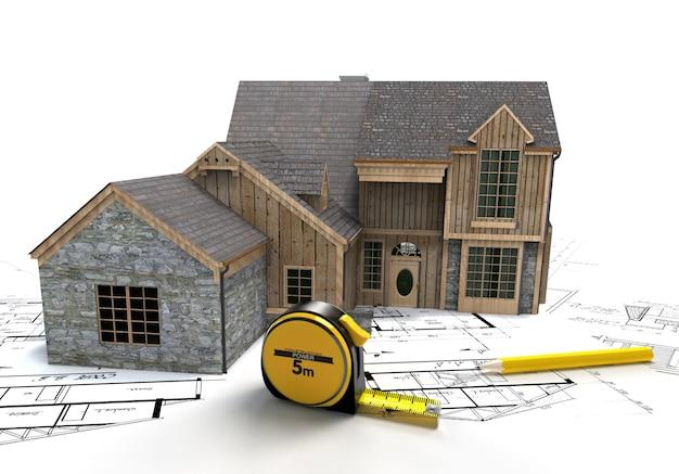 Rendu 3d d'une maison rustique au-dessus de plans avec un ruban à mesurer et un crayon
