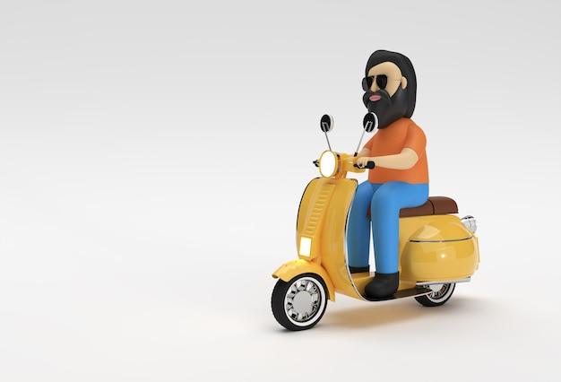 Rendu 3d man riding motor scooter vue latérale sur un fond blanc.