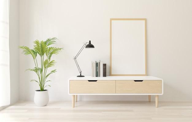 Rendu 3d maquette de cadre affiche sur le buffet, mur loft blanc, plancher en bois.