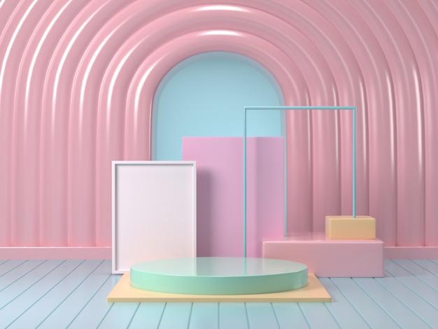 Rendu 3d de la maquette du podium pastel abstrait pastel