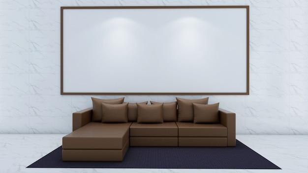 Rendu 3d de la maquette du salon intérieur, canapé et tapis