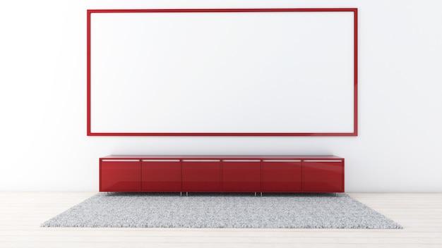 Rendu 3d de la maquette du salon intérieur, tapis et meuble bas