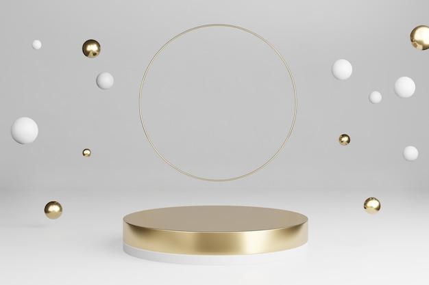 Rendu 3d: maquette plate-forme dorée avec anneaux brillants ronds et boule de décoration tombante avec un espace vide pour l'exposition de produits.