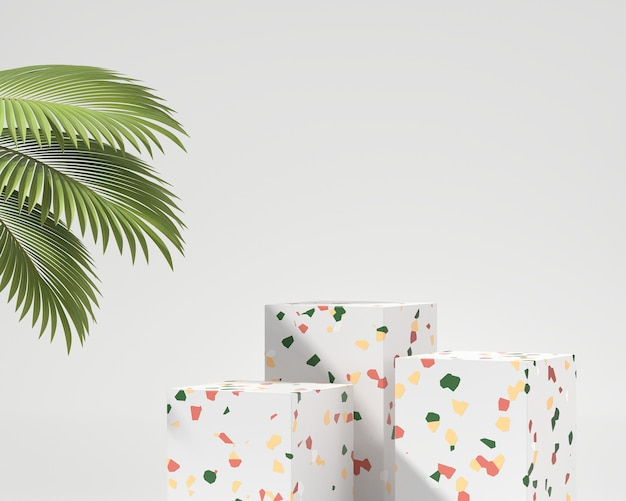 Rendu 3d de maquette de podium de présentation de produit de marbre de terrazzo avec le palmier