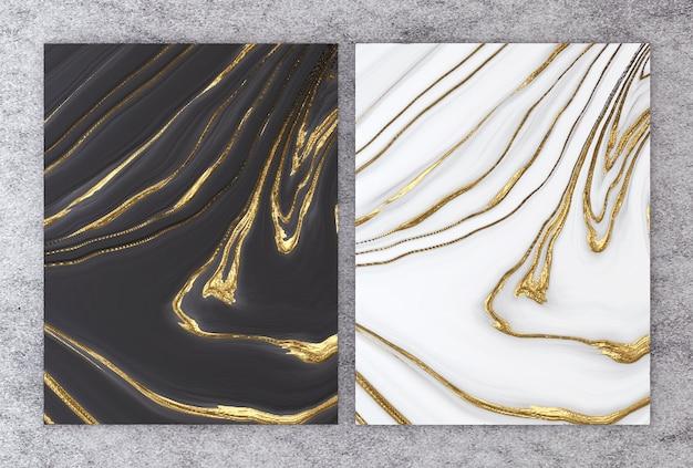 Rendu 3d de marbre noir et blanc avec une feuille d'or.