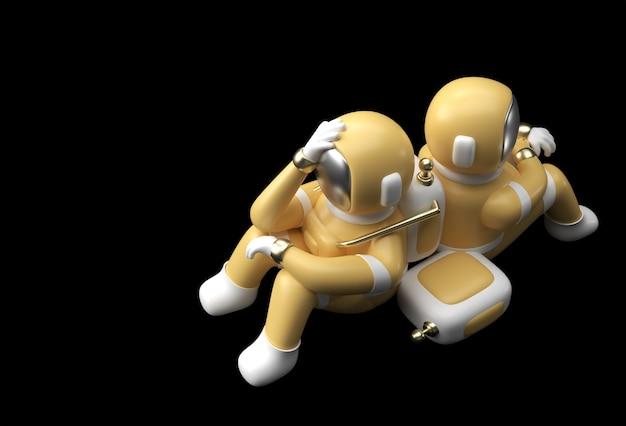Rendu 3d maux de tête d'astronaute de l'astronaute, déception, conception d'illustration 3d du geste caucasien ou honteux fatigué.