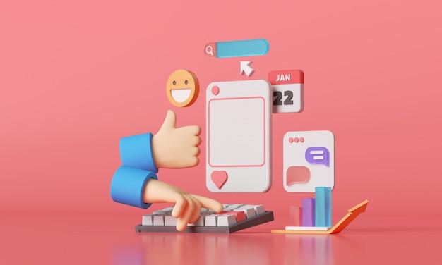 Rendu 3d des médias sociaux avec cadre photo, comme bouton et chat.