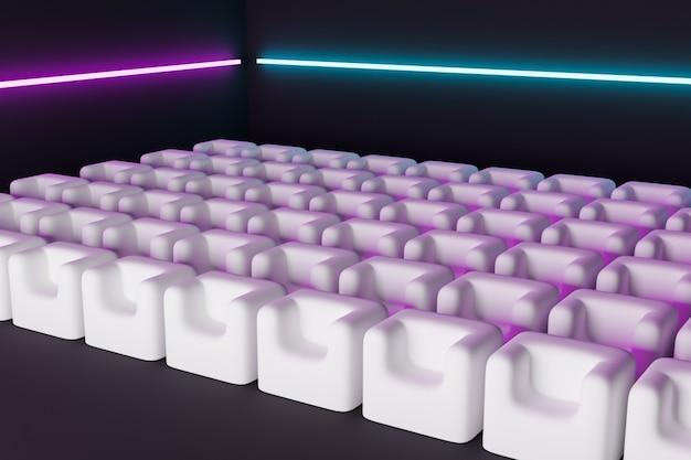 Rendu 3d des mêmes rangées de fauteuils moelleux de dessins animés blancs dans le théâtre. concept d'une belle salle de cinéma au néon avec des chaises en guimauve