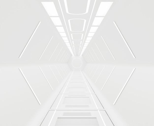 Rendu 3d meublé, fond intérieur de vaisseau spatial blanc