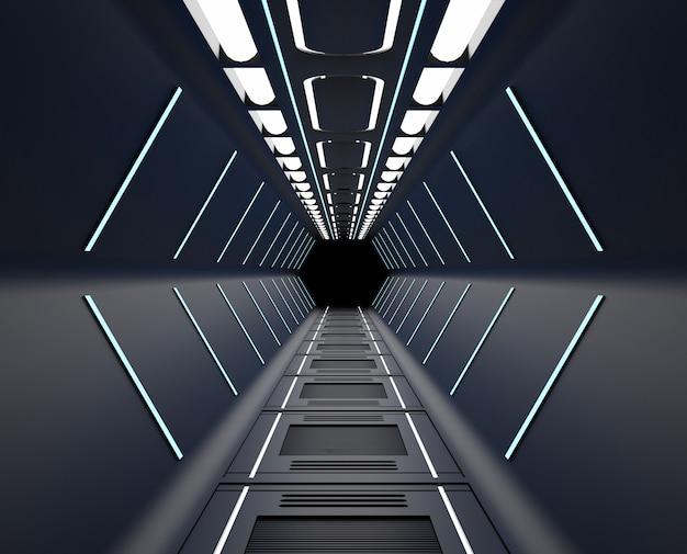Rendu 3d meublé, intérieur du vaisseau spatial noir