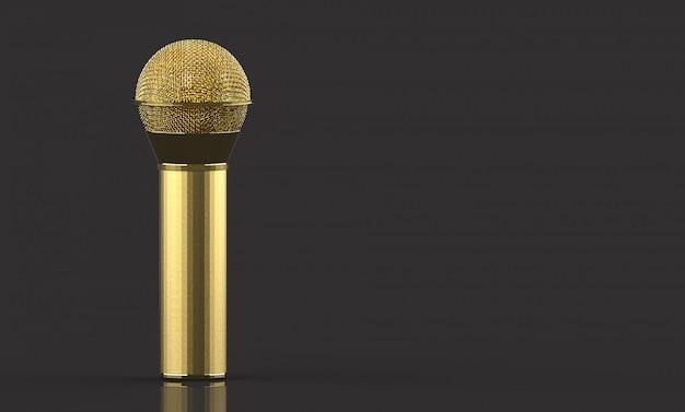 Rendu 3d. un microphone doré avec un tracé de détourage isolé sur fond gris.