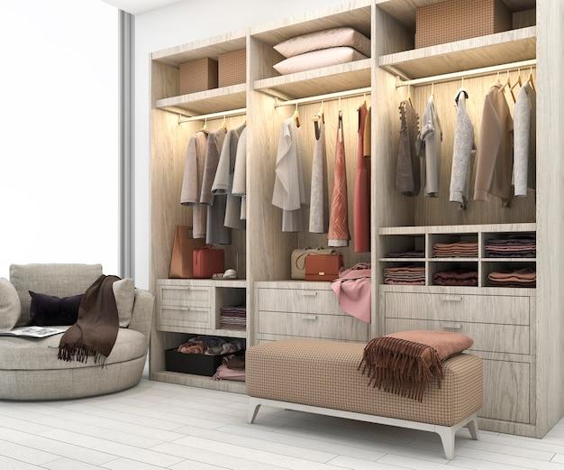 Rendu 3d minimal bois scandinave promenade dans le placard avec penderie
