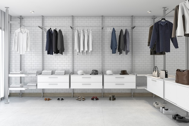 Rendu 3d minimal en brique blanche promenade dans le placard