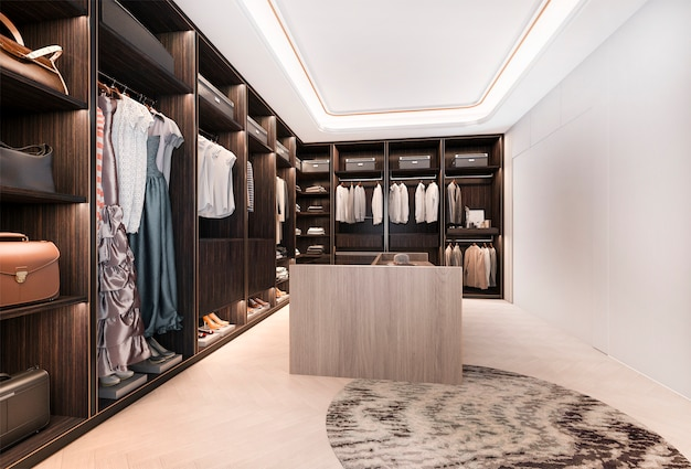 Rendu 3d minimal loft bois foncé walk in placard avec penderie