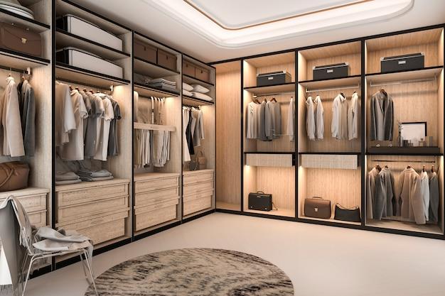 Rendu 3d minimal loft bois de luxe promenade dans le placard avec penderie