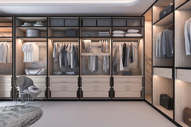 Rendu 3d minimal loft luxe bois promenade dans le placard avec penderie