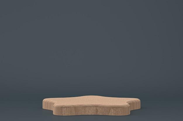 Rendu 3d minimal de podium en bois ou support de produit pour la présentation de produit cosmétique