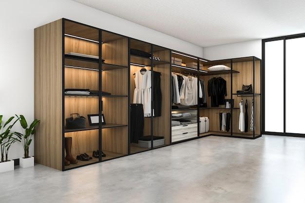 Rendu 3d minimal scandinave à pied dans le placard avec armoire en bois