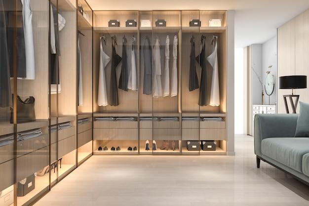 Rendu 3d minimaliste bois scandinave promenade dans le placard avec penderie
