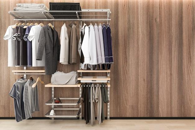 Rendu 3d minimaliste promenade scandinave dans le placard avec mur de bois de chêne