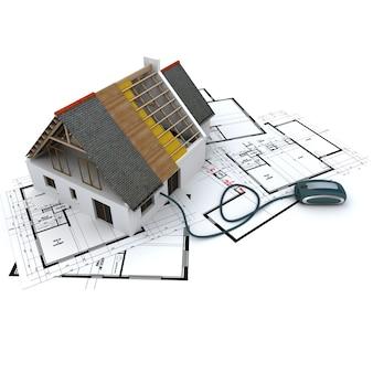 Rendu 3d d'un modèle d'architecture résidentielle au-dessus de plans connectés à une souris d'ordinateur