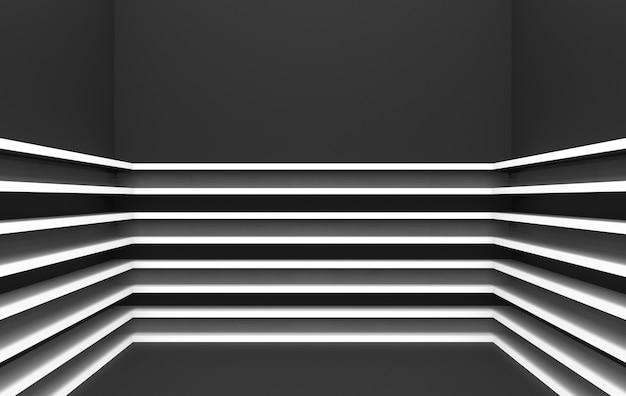Rendu 3d, modèle moderne de panneaux gris parallèles sur fond de mur d'angle sombre,