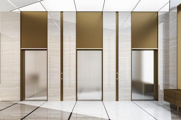 Rendu 3d moderne ascenseur ascenseur en acier hall dans un hôtel d'affaires avec un design de luxe