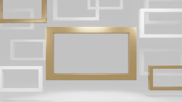 Rendu 3d moderne de cadre or et blanc.