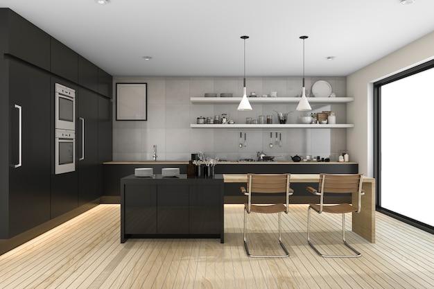 Rendu 3d moderne cuisine noire avec décor en bois