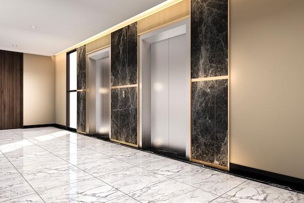 Rendu 3d moderne hall d'entrée d'ascenseur en acier dans un hôtel d'affaires avec un design de luxe