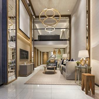 Rendu 3d moderne salle à manger et salon avec décor de luxe