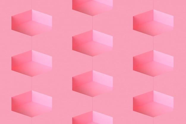 Rendu 3d modulaire hexagone de fond rose minimal