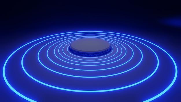 Rendu 3d moke up plate-forme halo bleu lueur noire