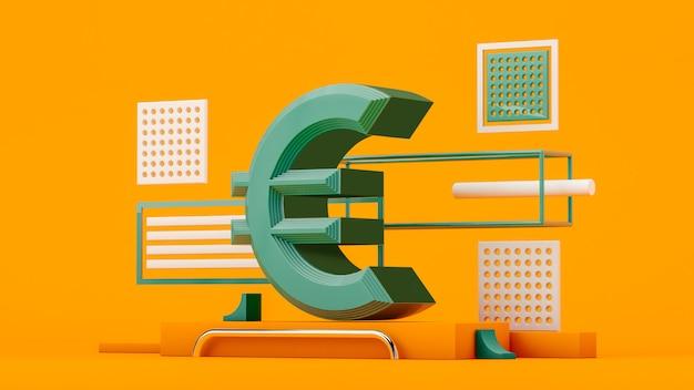 Rendu 3d monnaie euro sur fond jaune