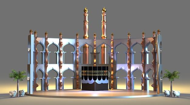 Rendu 3d de la mosquée de pèlerinage islamique