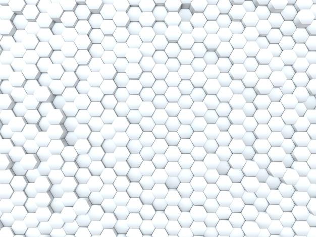 Rendu 3d d'un mur abstrait d'extrusion d'hexagones