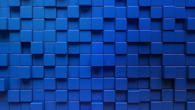 Rendu 3d d'un mur abstrait fait de cubes bleus