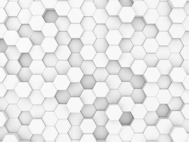 Rendu 3d de mur abstrait en nid d'abeille blanc décoratif dans le bain