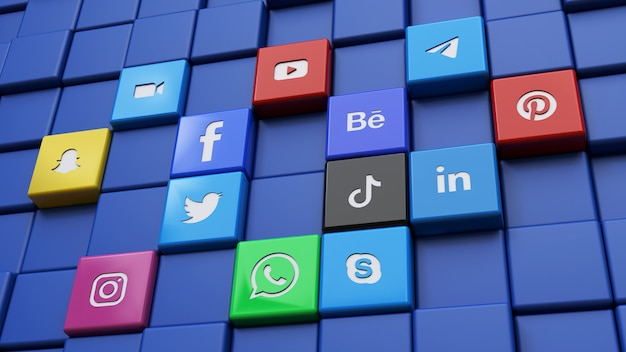 Rendu 3d d'un mur fait avec les logos de cube de réseau social les plus populaires