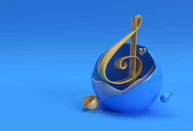 Rendu 3d musique abstraite note bannière flyer affiche illustration 3d conception.