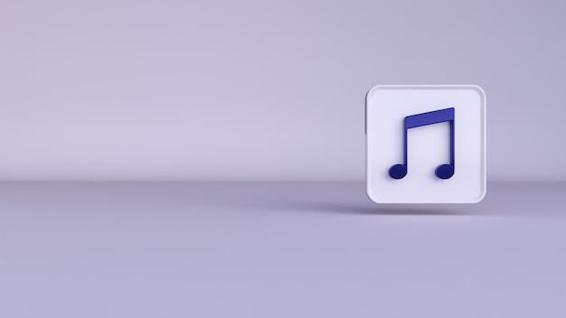 Le rendu 3d d'une musique de notes bleues sur fond blanc