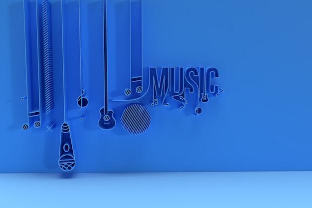 Rendu 3d musique texte bannière flyer affiche illustration 3d conception.