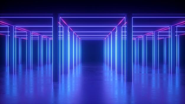 Rendu 3d de néon bleu abstrait géométrique