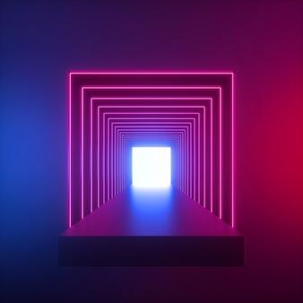 Rendu 3d de néon bleu rouge à l'intérieur du long tunnel