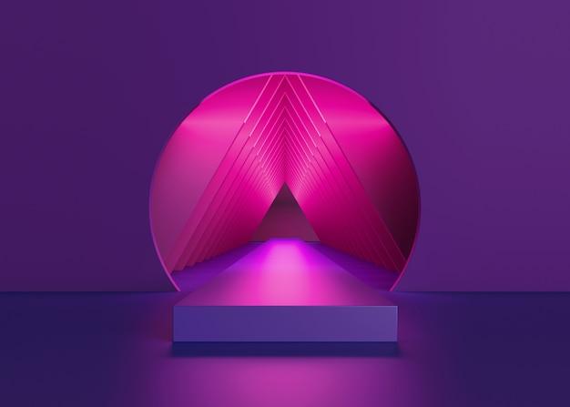 Rendu 3d de néon rose à l'intérieur du tunnel rond